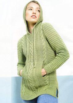Удлиненный пуловер спицами с капюшоном и карманами   вязание для женщин