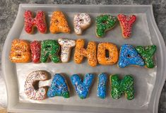 Make birthdays special for kids without a big party! Have their name spelled out in donuts!
