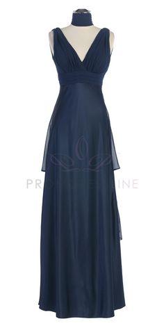Navy Blue V-Neck Two Textured with Back Layers Full Length Bridesmaid Dress S7812-NB $80.00 on www.GirlsDressLine.Com