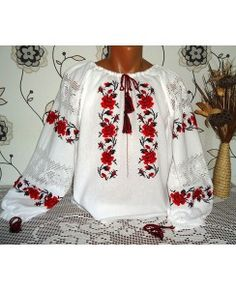 A Ie traditionala IE001 Floral Tops, Women, Fashion, Tricot, Moda, Top Flowers, Fashion Styles, Fashion Illustrations, Woman