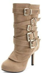 charlotte russe belt wrap sueded heel boot $40.00.