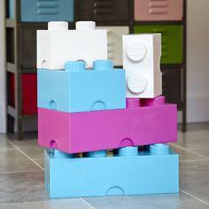 Giant LEGO Storage Blocks - Baby Blue, Hot Pink, White Unisex Playroom Bundle - Small, Medium, Large - Bedroom, Home Office, Living Room