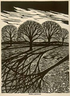 'Winter II', linocut (artwork by Anita Laurence) Linocut Prints, Art Prints, Block Prints, Gravure Photo, Linoprint, Wood Engraving, Woodblock Print, Tree Art, Printmaking