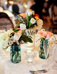 mason jar flower arrangements for wedding centerpiece