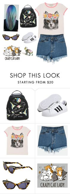 """""""Untitled #41"""" by lilacgrace2 ❤ liked on Polyvore featuring Love Moschino, adidas Originals, Gucci, Karen Walker and Franklin"""