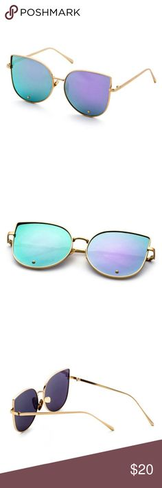 Just In!!! Gold Framed Cat eye Sunnies Awesome gold framed cat eye sunglasses with purple/blue lenses! Comes w/ case! Accessories Sunglasses