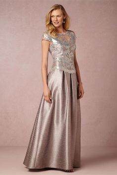 BHLDN Adrianna Papell Chelsea Gown - Pearl Grey