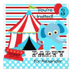 Our easy to customize Red, White, and Blue Circus birthday invitations are sure to be a hit with kids of every age! Features a blue elephant, the big top, circus tickets, balloons, popcorn, stripes, and polka dots and areas you can easily customize with your birthday party information! #circus #elephant #big #top #cute #fun #carnival #birthday #circus #theme #kids #customized #bigtop #childrens #custom #personalized #peacockcards #red #white #blue #festive