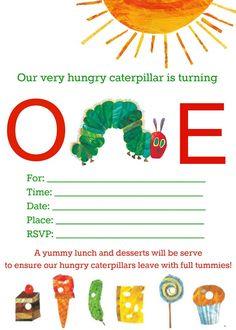 The Very Hungry Caterpillar Invitations Very Hungry Caterpillar Printables, Hungry Caterpillar Invitations, Hungry Caterpillar Nursery, Hungry Caterpillar Activities, 1st Boy Birthday, 1st Birthday Parties, Birthday Banners, Birthday Invitations, Birthday Ideas