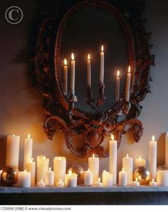 Church candles for shelves - ensure not too high but range of sizes and tea lights