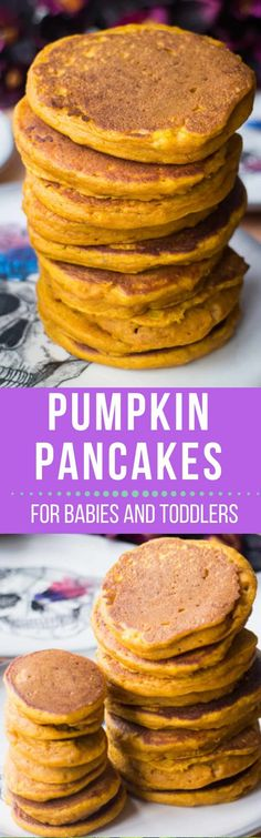 Pumpkin Baby Pancakes Recipe for babies, toddlers and parents! This easy pancake recipe is great for baby led weaning for first foods! These pumpkin pancakes are healthy and nutritious! Serve for breakfast or dinner - freeze leftovers for busy mornings or daycare!