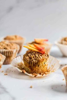 These peach muffins are the perfect summer dessert and so easy to make! They are light, fluffy and topped with a sweet crumb topping your whole family will love! Make them this weekend! Peach Muffin Recipes, Simple Muffin Recipe, Healthy Muffin Recipes, Cupcake Recipes, Baking Recipes, Dessert Recipes, Breakfast Recipes, Brunch Recipes, Cherry Muffins