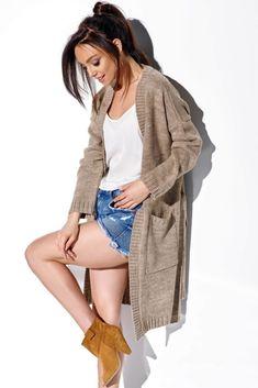 Cardigan dama elegant cu lungime medie si cordon cappuccino! Modeling, Duster Coat, Bohemian, Elegant, Sweaters, Jackets, Fashion, Classy, Down Jackets
