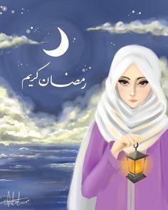 Wishing You a Blessed and Holy Month of Ramadan 💚 Art Anime, Anime Manga, Girl Cartoon, Cartoon Art, Hijab Drawing, Girly M, Anime Muslim, Girly Drawings, Beautiful Hijab
