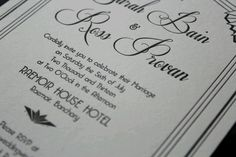 Wedding Invitations. Design by Syntax21, printing by The Hunter Press.