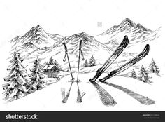 Holidays at ski background, mountains panorama in winter sketch