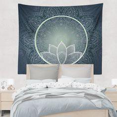 Navy Blue Mandala Lotus Green Flower Bohemian by DesignBohemian