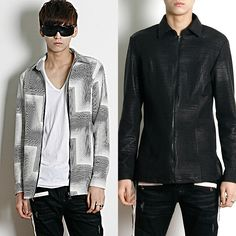 Remember Click Cube Print Slim Jacket WHITE BLACK ONE SIZE Korean Wear #RememberClick #BasicJacket