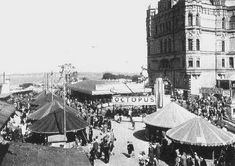 An early photograph of the funfair at Tower Pleasure Gardens, New Brighton 1940 The Pleasure Garden, Go Kart Tracks, Brighton Rock, Liverpool History, Where The Heart Is, Picture Show, Old And New, Seaside, Past