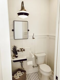 Bathroom decor for your master bathroom renovation. Discover master bathroom organization, master bathroom decor tips, bathroom tile some ideas, bathroom paint colors, and more. Downstairs Bathroom, Bathroom Renos, Bathroom Interior, Master Bathrooms, Wainscoting Bathroom, Tiny Bathrooms, Farmhouse Bathroom Sink, Bathroom Mirrors, 1920s Bathroom