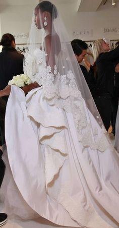 Nadja Giramata looking beautiful & statuesque backstage at de la Renta, Bridal Dream Wedding Dresses, Bridal Dresses, Wedding Gowns, Bridal Headpieces, Wedding Hair, Bridal Hair, Bridal 2015, Beautiful Gowns, Beautiful Bride