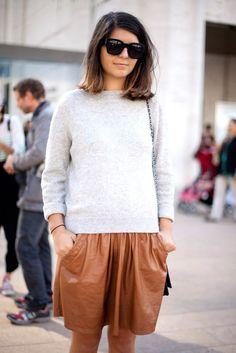 Leather mini skirt.