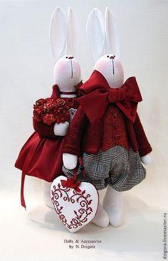 Купить Влюблённые кролики - игрушка заяц, игрушка зайка, зайцы, зайка, влюблённые, пара зайцев