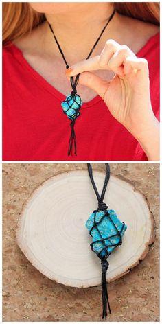 DIY Macrame Netted Stone Pendant Tutorial from Gina Michele.I've...