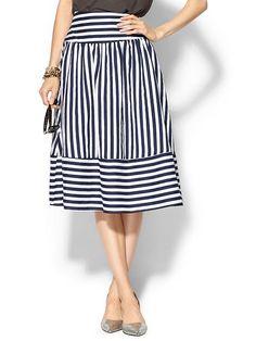 Joa Panel Skirt - Navy stripe midi skirts, panel skirt, circle skirts, stripe