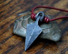 Arrowhead Necklace, a hand forged Viking arrowhead made into a pendant