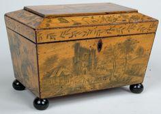 English Regency Penwork Tea Caddy
