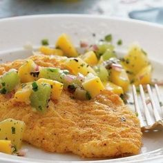 Crispy Baked Fish with Tropical Salsa Recipe from Betty Crocker. Hard to not just eat the salsa plain! Seafood Recipes, Cooking Recipes, Healthy Recipes, Seafood Meals, Seafood Dishes, Healthy Tips, Side Recipes, Great Recipes, Favorite Recipes