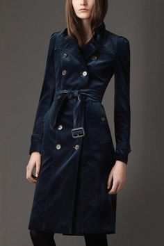 Burberry Long Velvet Trench Coat, $1,695, available at Burberry.