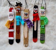 Adornos de Navidad con palitos de helado. Adornos para el árbol fáciles y divertidos, hacemos manualidades de Navidad con los peques. 5 adornos de Navidad