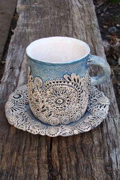 Lace ceramic tea set / Керамическая кружка и блюдце с кружевным узором — работа…