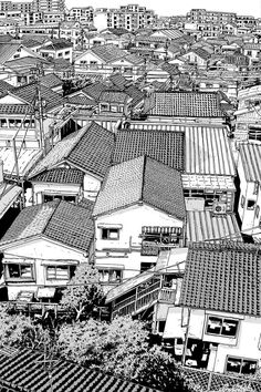 very beautiful manga landscapes - Art Sketches, Art Drawings, Cityscape Drawing, Background Drawing, Landscape Drawings, Urban Sketchers, Manga Art, Comic Art, Concept Art