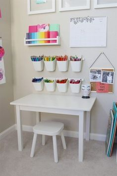 playroom art station is giving us all the toddler art goals! This playroom art station is giving us all the toddler art goals! - This playroom art station is giving us all the toddler art goals! Baby Playroom, Playroom Art, Playroom Design, Children Playroom, Small Playroom, Playroom Table, Kids Room Design, Colorful Playroom, Yellow Playroom