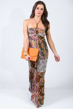 #1015store.com #fashion #style multi color paisley print beaded halter boho maxi sundress-$15.00