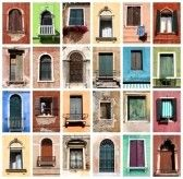 Kleurrijke collage gemaakt van Vensters van Venetië, Italië stock photography