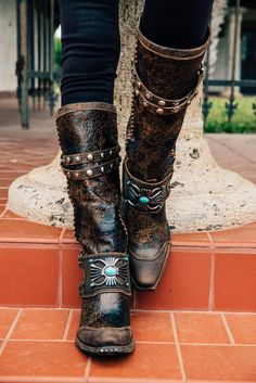 7bf981c85ab8 The Double D Ranch Bow guard Boots by Lane are amazing! These boots feature  a bow guard across the ankle with faux turquoise stones.