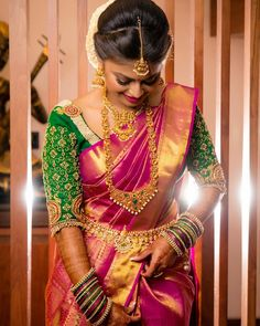 Looking for creative blouse work designs to try with your silk sarees? Here are 16 amazing blouse ideas that can make your silk saree look gorgeous! Indian Bridal Sarees, Bridal Silk Saree, Indian Bridal Fashion, Saree Wedding, Wedding Bride, Silk Sarees, Wedding Blouses, Wedding Sherwani, Wedding Girl