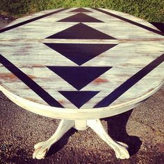 Painted Geometric print tabletop - good for the value village table I plan to buy when I have room.