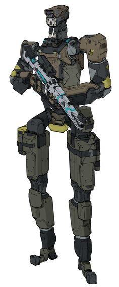 ArtStation - Crew of the Salonika - Security Drones, Will JinHo Bik Military Robot, Humanoid Robot, Futuristic Armour, Sci Fi Armor, Future Soldier, Mechanical Design, Science Fiction, Concept Art, Cool Stuff