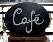Cafe Oval Sign in Black