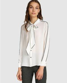 Blusa blanca de mujer Amitié con detalle de contrastes