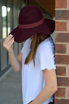 what to wear with a burgundy floppy hat  ab0d822238e4