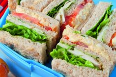 Egg salad club sandwiches recipe, NZ Womans Weekly – Other childfriendly sandwich suggestions include pesto avocado and tomato and peanut butter with banana - Eat Well (formerly Bite) Club Sandwich Recipes, Toast Sandwich, Sandwich Fillings, Lunch Box Recipes, Egg Recipes, Salad Recipes, Egg Salad Ingredients, Kid Friendly Meals, Child Friendly