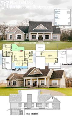 Architectural Designs 3 Bed Traditional House Plan has classic good looks, a side-load 2-car garage and a lower-level family room with a full bath. Ready when you are. Where do YOU want to build?