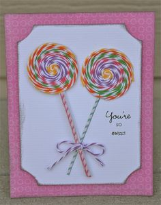 diy card with bakers twine. This site has so many great ideas! Kids Birthday Cards, Scrapbook Cards, Scrapbooking, Copics, Card Tags, Paper Cards, Cool Cards, Creative Cards, Kids Cards
