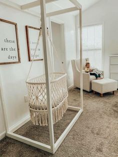 Lauren Stewart- Nursery Decor, Hanging Bassinet, Macrame Loving our new Hanging macrame Bassinet! It's adds such a special touch to our nursery! Baby Room Decor, Nursery Room, Kids Bedroom, Nursery Decor, Bedroom Decor, Baby Room Design, Gold Bedroom, Boho Nursery, Hanging Bassinet